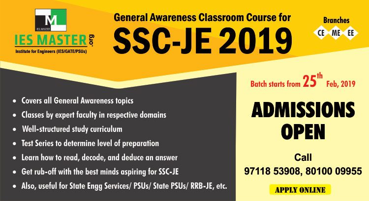 General Awareness Classroom Course for - SSC-JE 2019