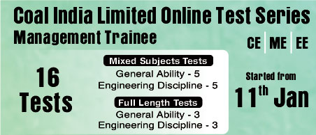 Coal India Limited (CIL) Online Test Series, CIL, CE, ME, EE, Civil Engineering, Mechanical Engineering, Electrical Engineering