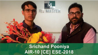 ESE 2018 CE Topper AIR 10 Srichand Pooniya, IES Master