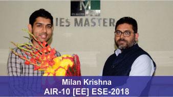 ESE 2018 EE Topper AIR 10 Milan Krishna