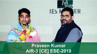 ESE 2018 CE Topper AIR 3 Praveen Kumar, IES Master