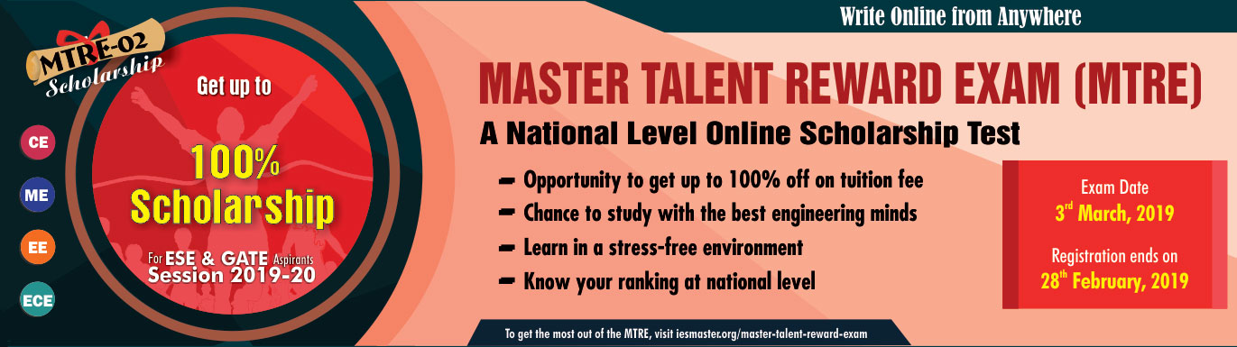 MTRE-02 By IES Master, ALL INDIA NATIONAL ONLINE SCHOLARSHIP TEST