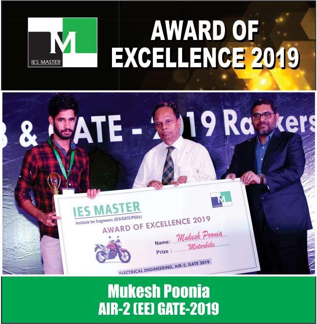 Mukesh Poonia AIR-2 (EE) GATE-2019