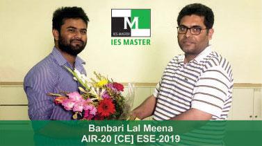 ESE 2019 CE Topper AIR 20 Banbari Lal Meena