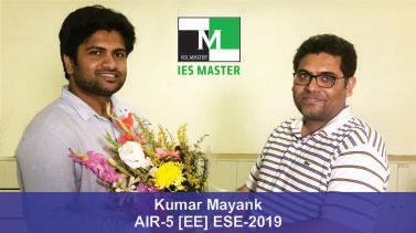 ESE 2019 EE Topper AIR 5 Kumar Mayank