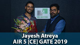 GATE 2019 CE Topper AIR 5 Jayesh Atteya