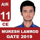 Mukesh-Lamrod, Gate 2019 Toppers-Rank 11(CE)