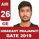 AIR26-GATE-2019-Topper-Umakant-Prajapati-(CE)-AIR26-IES-Mater