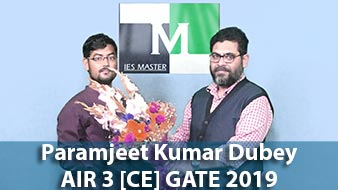 GATE 2019 CE Topper AIR 3 Paramjeet Kumar Dubey