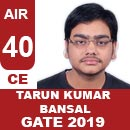 AIR40-GATE-2019-Topper-Tarun-Kumar-Bansal-(CE)-AIR40-IES-Mater