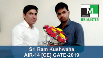 GATE 2019 CE Topper AIR 14 Sri Ram Kushwaha